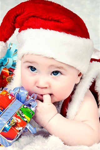iPhone Wallpaper Cute baby, hat, gifts, Christmas