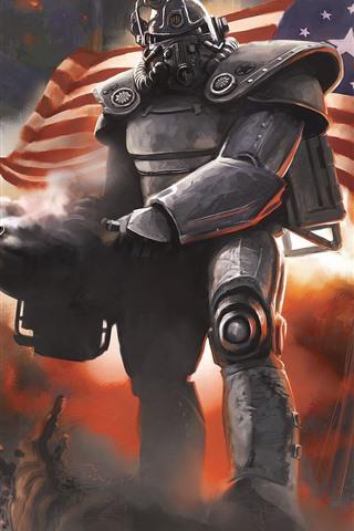 iPhone Papéis de Parede Fallout, guerreiro, bandeira, jogo