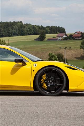 iPhone Wallpaper Ferrari 458 yellow supercar side view, countryside