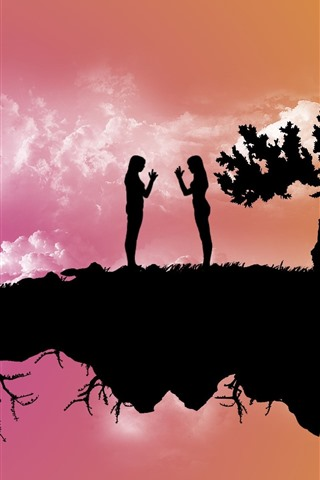 iPhone Wallpaper Float island, trees, two girls, silhouette, creative picture