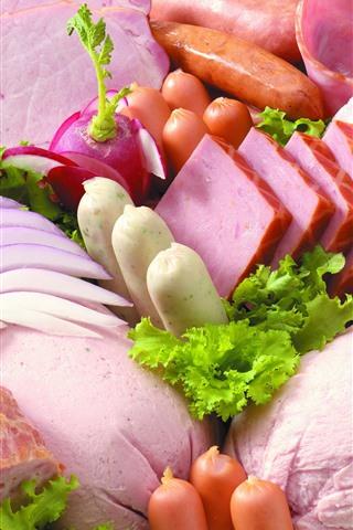 iPhoneの壁紙 食品、ソーセージ、大根、キャベツ、肉