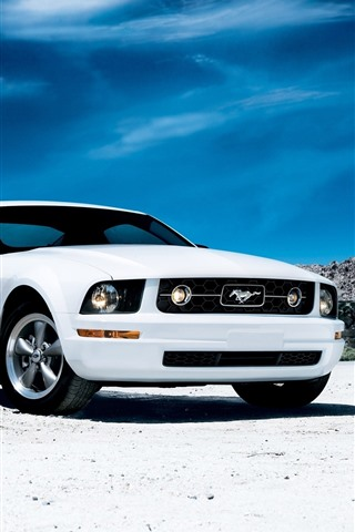 iPhone Wallpaper Ford Mustang white car front view