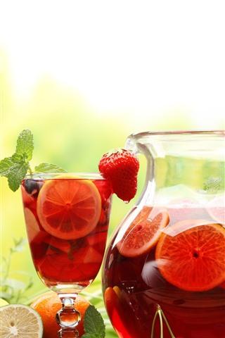 iPhone Wallpaper Fruit drinks, kettle, cup, lemon, strawberry, flowers