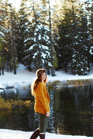 iPhone Wallpaper Girl look back, sweater, snow, trees, lake, winter