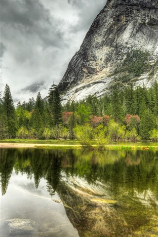 iPhone Wallpaper Lake, mountain, water reflection, trees, clouds