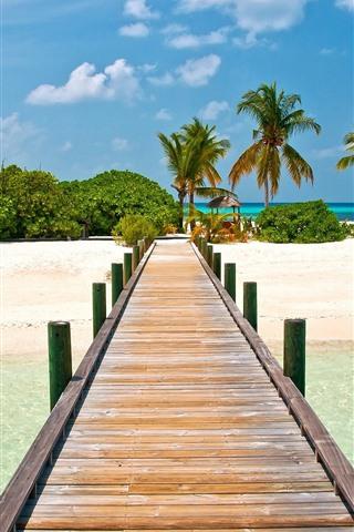 iPhone Wallpaper Maldives, tropical, bridge, beach, palm trees, sea