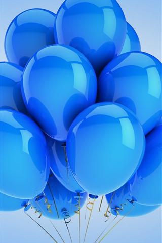 iPhoneの壁紙 多くの青い風船