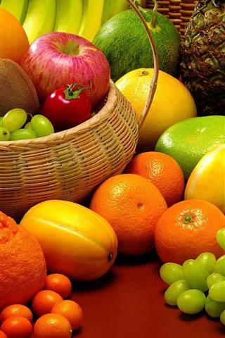 iPhone Wallpaper Many kinds of fruits, melon, grapes, oranges, mango, apple, kiwi