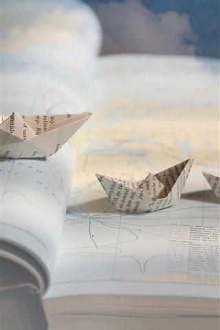 iPhoneの壁紙 地図、紙の船