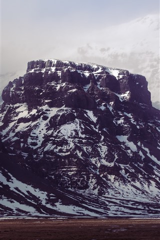 iPhone Wallpaper Mountain, snow, rock, fog, winter