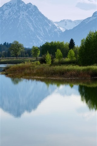 iPhone Wallpaper Nature landscape, mountains, lake, water reflection, trees, snow