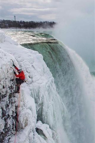 iPhone Wallpaper Niagara falls, snow, frozen, winter, fog
