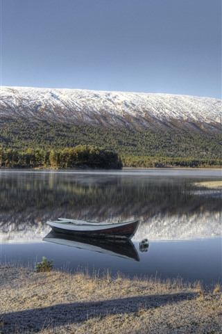 iPhone Wallpaper Norway, boat, river, mountain, snow, trees, winter