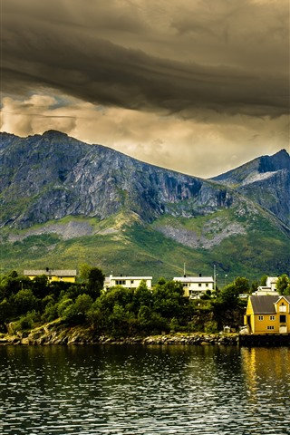 iPhone Wallpaper Norway, mountains, boat, houses, sea, village