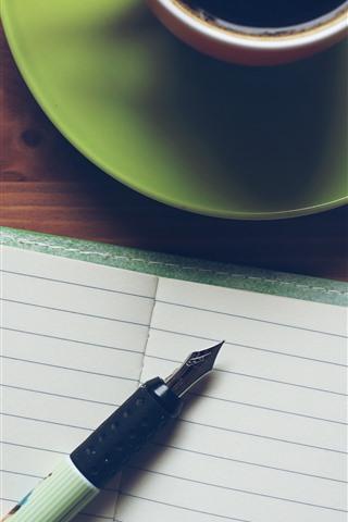 iPhone Papéis de Parede Caderno, caneta, café, xícara, natureza morta