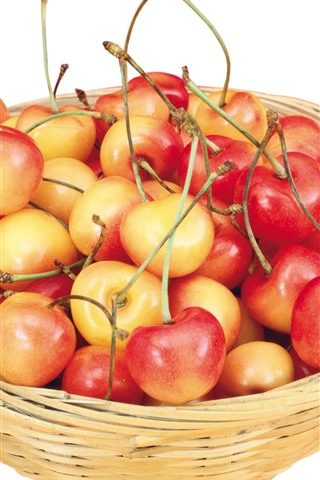 iPhone Wallpaper One basket of cherries, white background