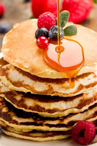 iPhone Wallpaper Pancakes, honey, red currants, blueberries