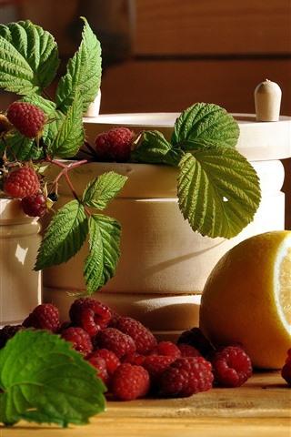 iPhone Wallpaper Raspberries, lemon, green leaves