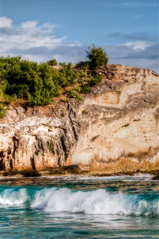 iPhone Wallpaper Rocks, sea, beach, waves, foam