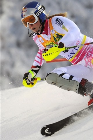 iPhone Wallpaper Ski, women, snow, sport