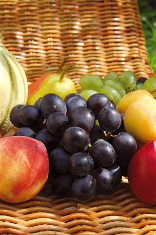 iPhone Wallpaper Some fruits, grapes, peach, plum, melon