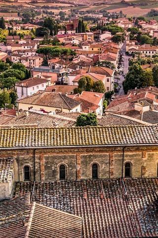 iPhone Wallpaper Tuscany, Italy, church, city, houses, trees