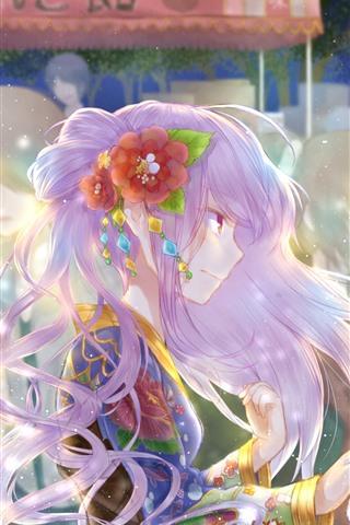 iPhone Wallpaper Two anime girls, shine