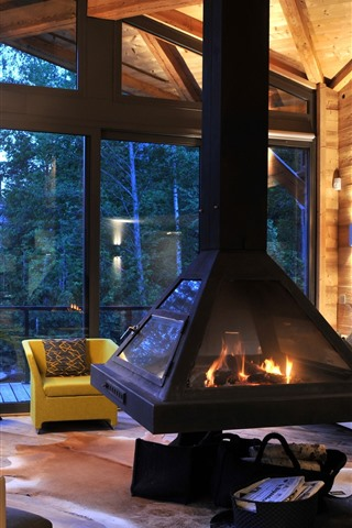 iPhone Wallpaper Villa, interior, fireplace, furniture, sofa, window, wooden struct