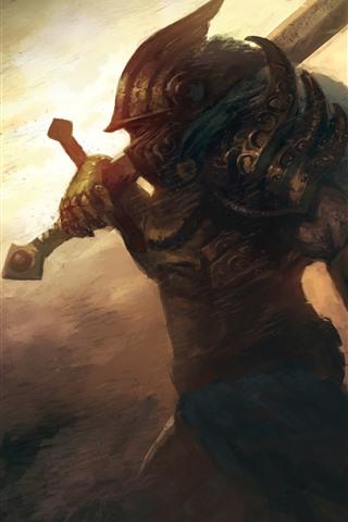 iPhone Papéis de Parede Guerreiro, espada, imagem artística