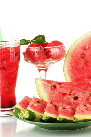 iPhone Wallpaper Watermelon, drinks, glass cup, white background