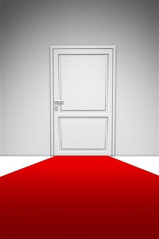 iPhone Wallpaper White door, red carpet, creative design
