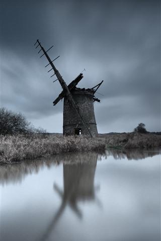 iPhone Wallpaper Windmill, ruins, river, grass, dusk