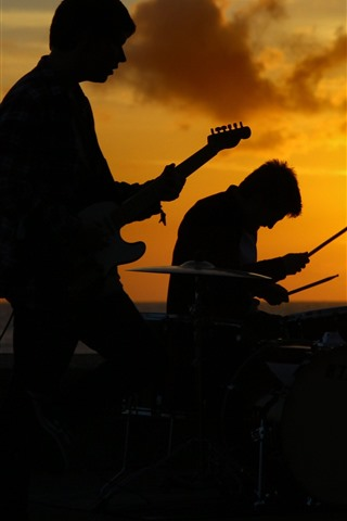 iPhone Wallpaper Band, music, people, sunset, silhouette