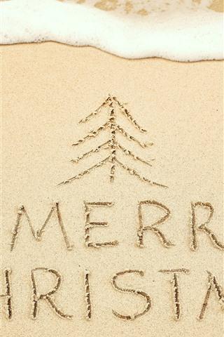 iPhone Wallpaper Beach, sands, Merry Christmas, foam