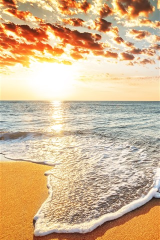 iPhone Wallpaper Beach, sea, foam, sky, clouds, sunset