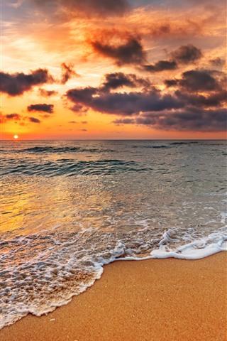 iPhone Wallpaper Beach, sunset, foam, sea