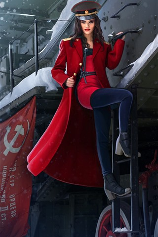 iPhone Wallpaper Beautiful Russian girl, train, red coat, winter, art picture