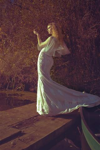 iPhone Wallpaper Blonde girl, white skirt, pose, boat