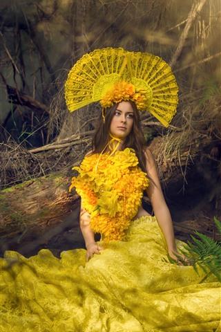 iPhone Papéis de Parede Garota de cabelos castanhos, moda, saia de flores amarelas, decoração