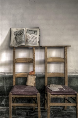 iPhone Обои Стулья, комната, стена, книга, пыль
