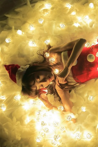 iPhone Обои Рождественская девочка, спит, огни