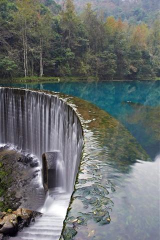 iPhone Wallpaper Croatia, waterfall, trees, lake, stones
