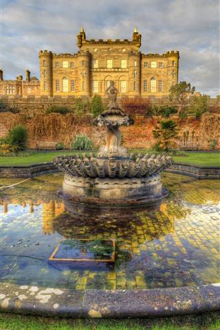 iPhone Wallpaper Culzean Castle, fountain, meadow, Scotland, HDR style