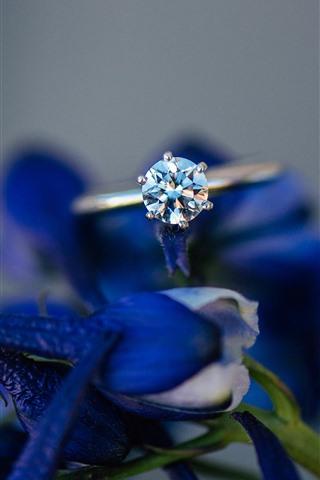 iPhone Papéis de Parede Anel de diamante, flores azuis, nebuloso