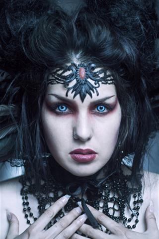 iPhone Papéis de Parede Garota fantasia, rosto, olhos azuis, penas