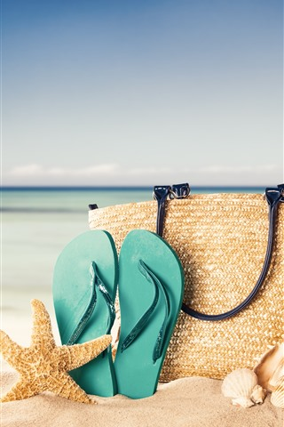 iPhone Wallpaper Handbag, starfish, flip flop, beach