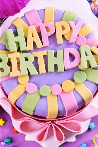 iPhone Fond d'écran Joyeux anniversaire gâteau, coloré, étoiles, cadeaux