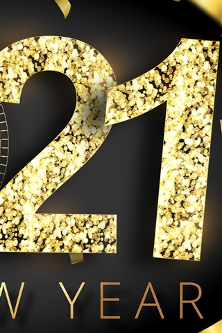 iPhone Wallpaper Happy New Year 2021, golden style, clock