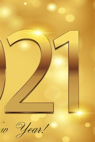 iPhone Fond d'écran Bonne année 2021, style doré, brillance