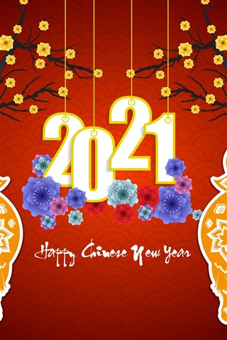 iPhone Wallpaper Happy New Year 2021, ox, flowers, red background